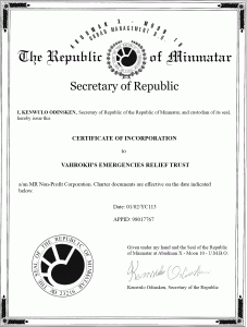 VAERT Certificate Of Incorporation
