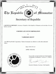 Vahrokh Group Certificate Of Incorporation