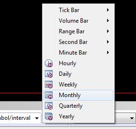 Time frame popup menu